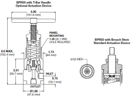 Ohio Valley Industrial Services- Coalescing Filters, Regulators, and Lubricators- BPR50 Series High Pressure, Back Pressure Regulator Drawing