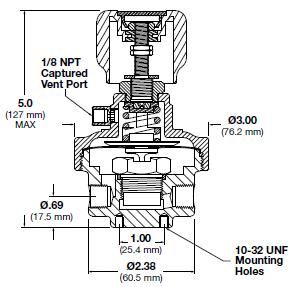 Ohio Valley Industrial Services- Coalescing Filters, Regulators, and Lubricators- HFR900 Series Single-Stage, High Flow Pressure Regulator Drawing