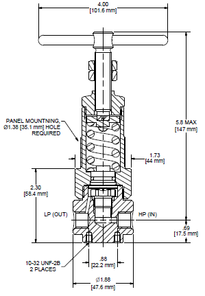 Ohio Valley Industrial Services- Coalescing Filters, Regulators, and Lubricators- HPR800 Series Single-Stage, High Pressure Regulator Drawing