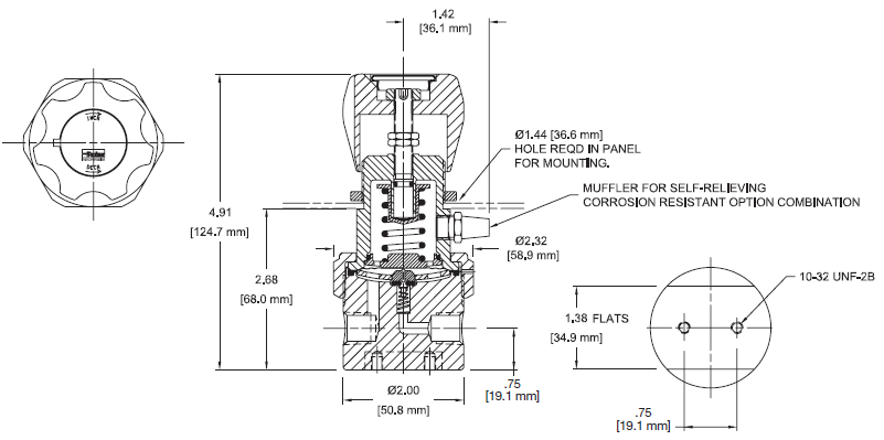 Ohio Valley Industrial Services- Coalescing Filters, Regulators, and Lubricators- IR4000 Series Single-Stage, General Purpose Pressure Regulator Drawing