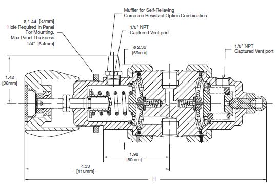 Ohio Valley Industrial Services- Coalescing Filters, Regulators, and Lubricators- IR6000 Series Two-Stage, General Purpose Pressure Regulator Drawing