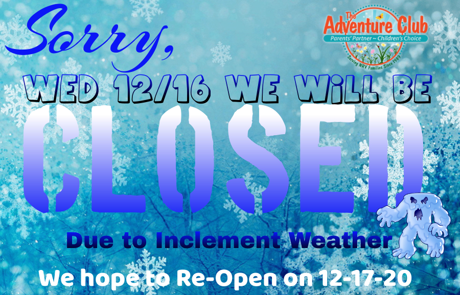 ⚠️‼️Due to the pending weather forecast, ALL LOCATIONS will be CLOSED Wednesday, 12/16/20. Please stay up to date with all news by liking our Facebook page‼️⚠️ #share #inclementweather