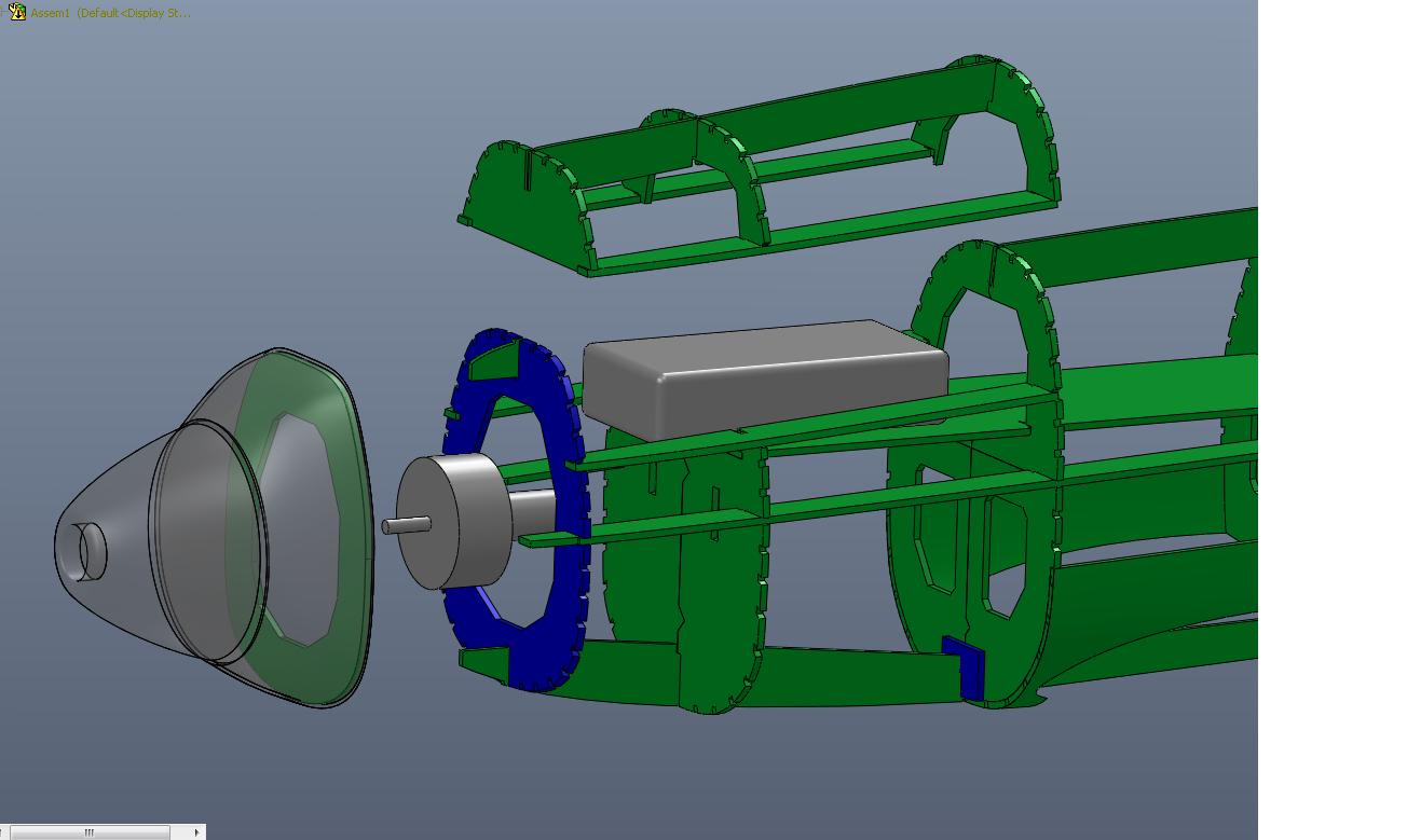 8.  Battery hatch, motor, and cowl arrangement.
