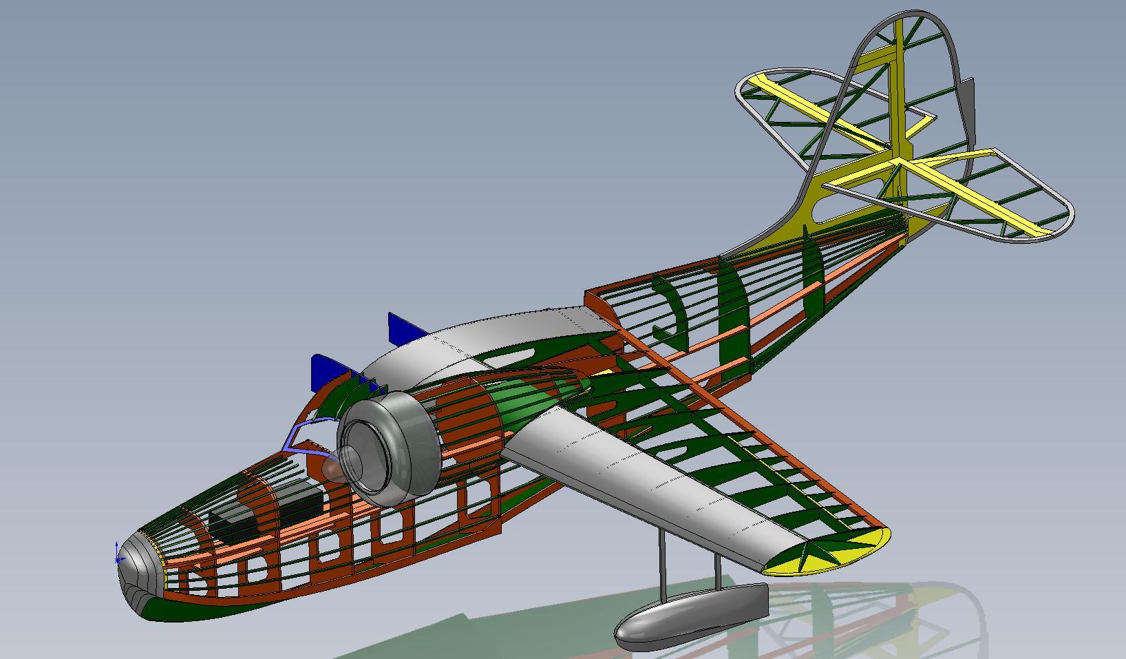 Stick framework complete in SolidWorks CAD.