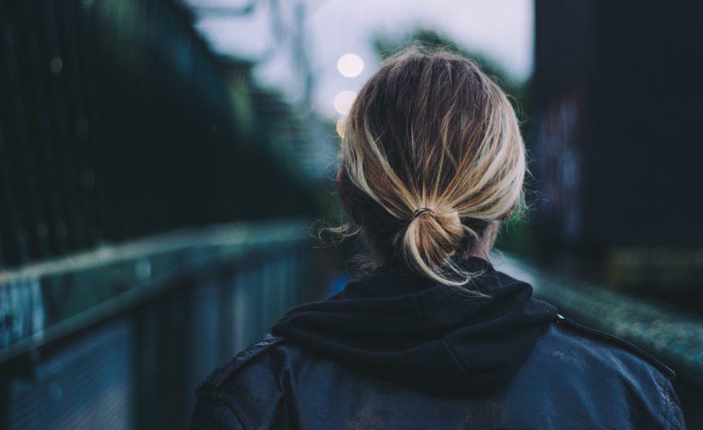 girl woman jacket leather bridge