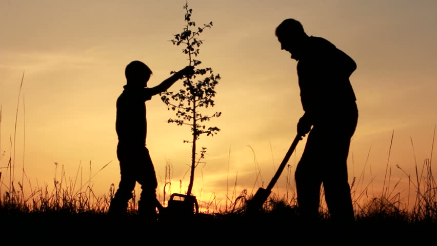 Father and Son Planting Future