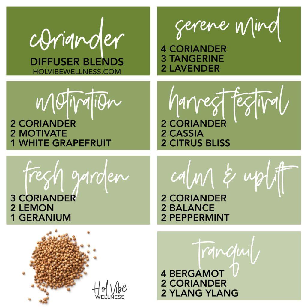 coriander, tangerine, lavender, motivate, white grapefruit, cassia, citrus bliss, lemon, geranium, balance, peppermint, bergamot, ylang ylang