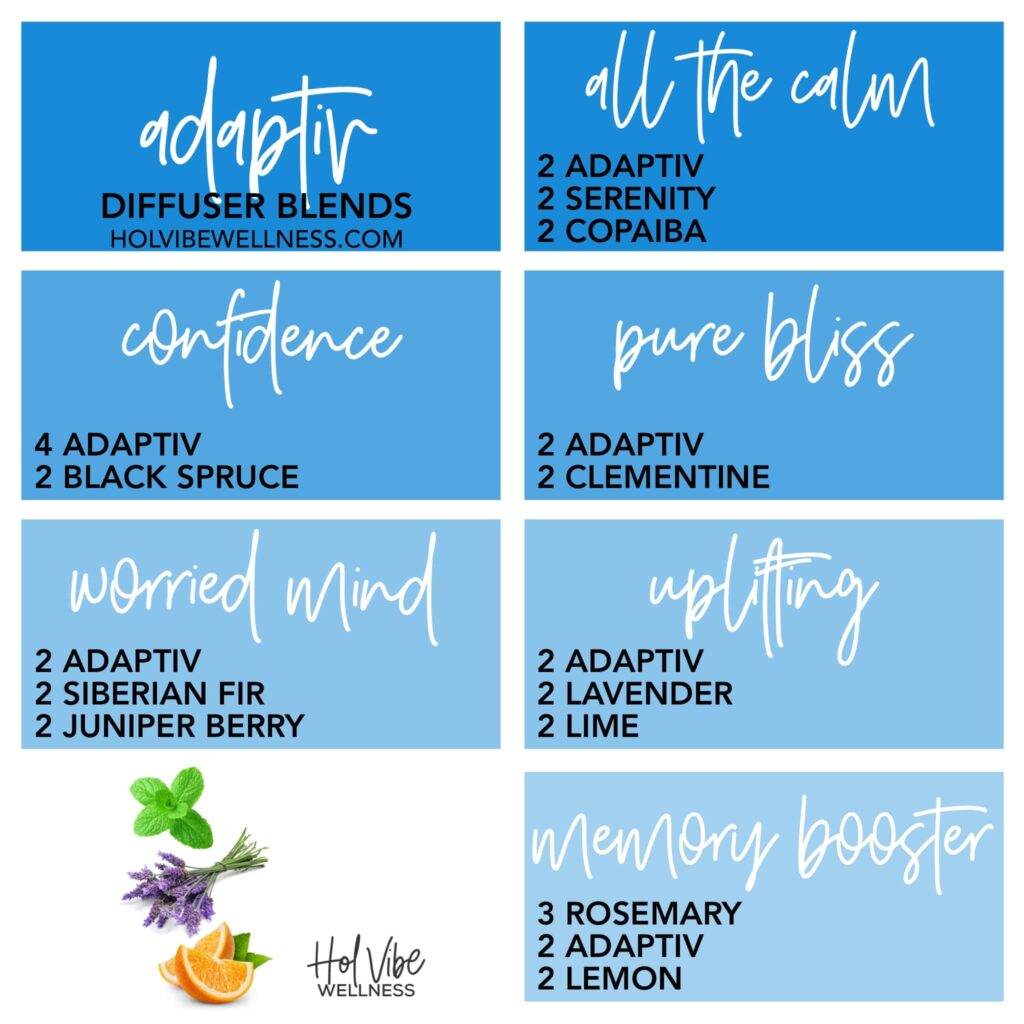 adaptiv, serenity, copaiba, black spruce, clementine, siberian fir, juniper berry, lavender, lime, rosemary, lemon