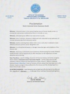 Proclamation- March: National Colorectal Cancer Awareness Month