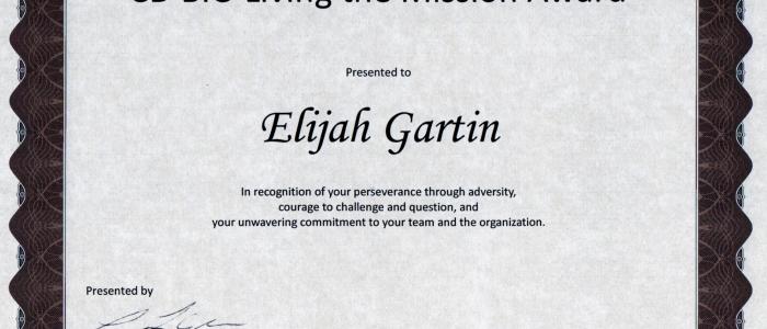 Elijah Gartin Living the Mission Award Recipient 2014 Kaiser Permanente CD BIO