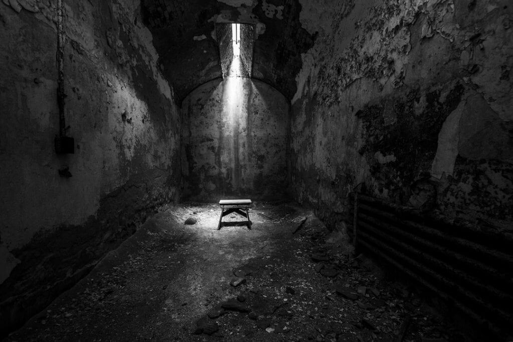 Eastern State Penitentiary haunted prison cellblock skylight