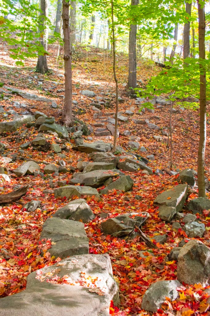 Red nature path through Hudson Highlands State Park