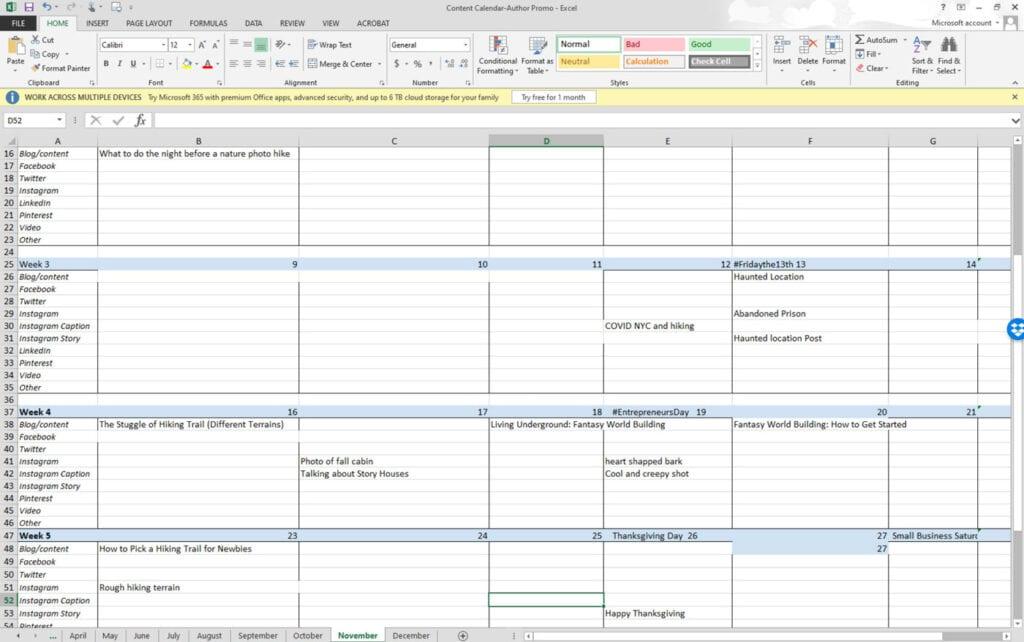 Blogging as an author content calendar