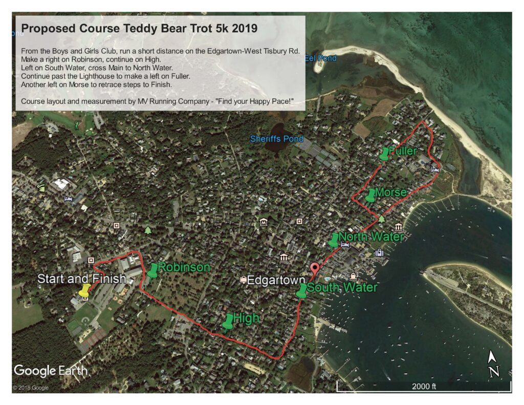 Teddy Bear Trot 5 K Route Through Downtown Edgartown Martha's VineyardTeddy Bear Suite Fundraiser