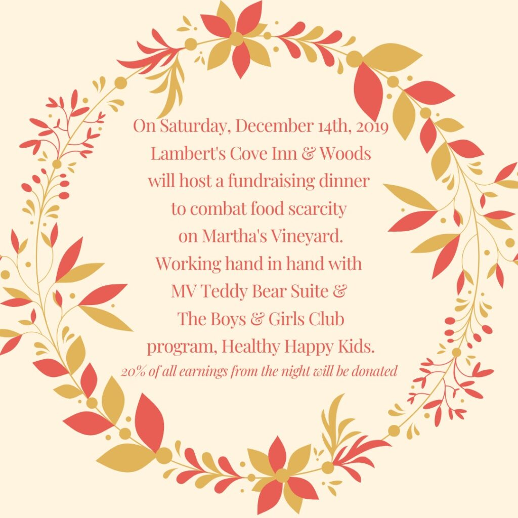 Woods Restaurant Chef Jimmy Alvarado Creates Martha's Vineyard Teddy Bear Suite Fundraiser Dinner