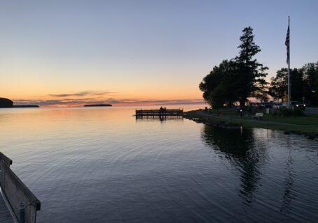 sunset on lake door county wisconsin