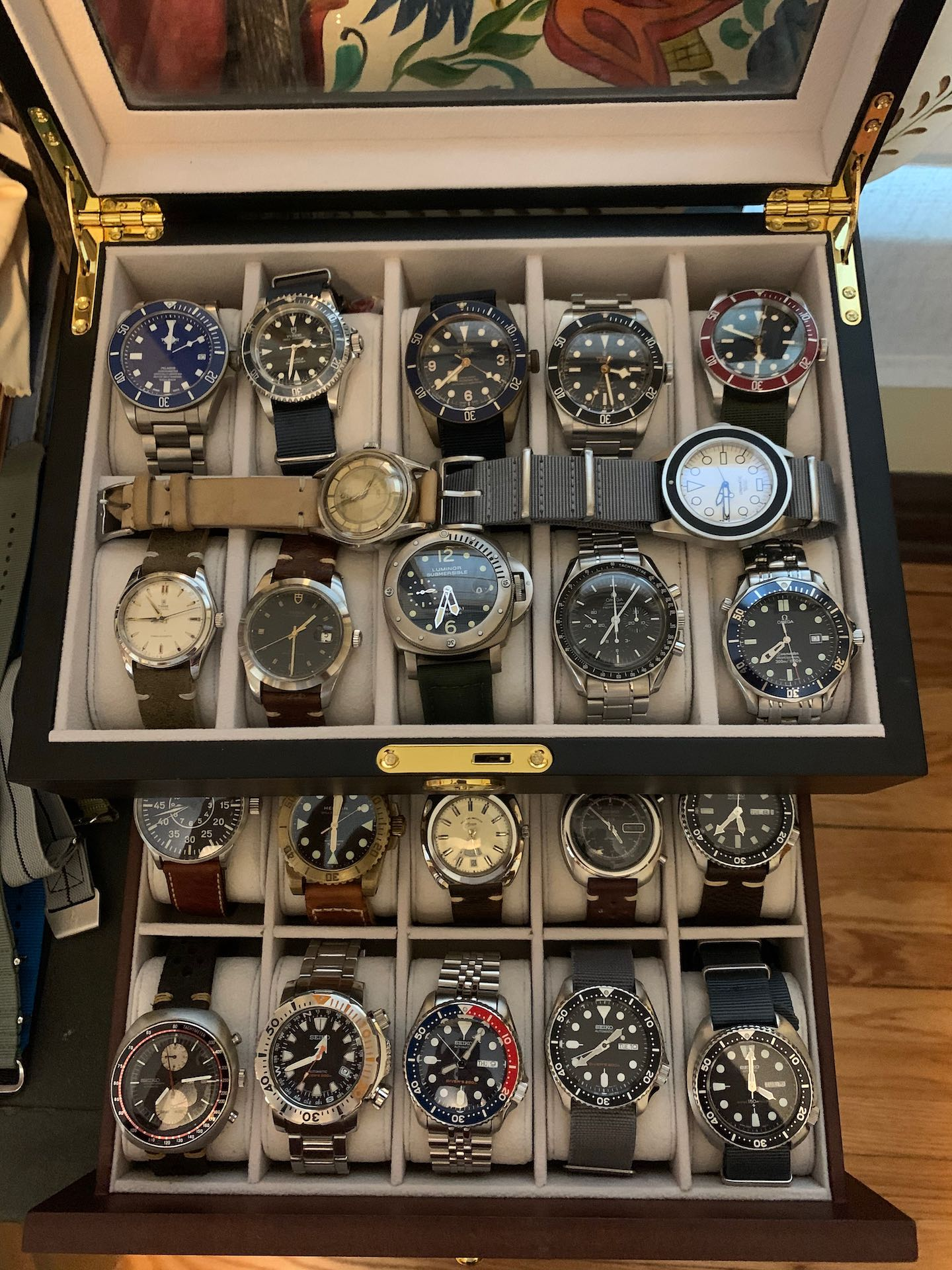 picture of my husband's watch collection