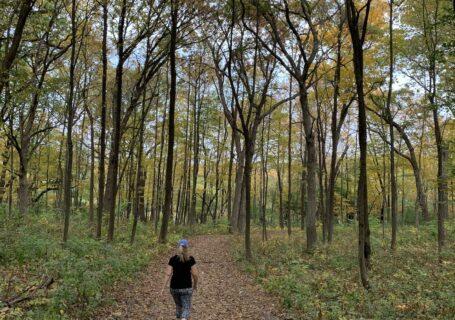 Liz walking in the woods