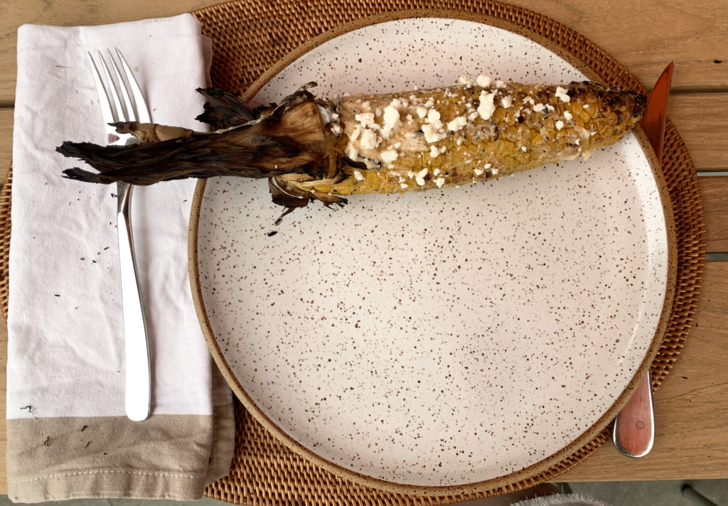 grilled corn on a plate
