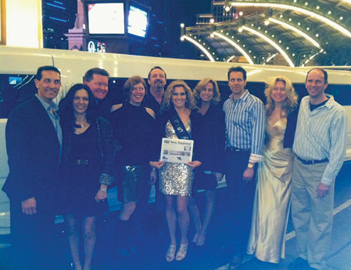 Theresa O'Riorden and friends headed to Vegas for her 40th birhtday celebration.   They are pictured here  in front of The Paris Hotel heading to the Marquee Nightclub at the Cosmopolitan.  From left to right:  Mike Travalent and Martha Monroe, Brian Henchey, Jen Gero, Chris Clarke, Theresa O'Riorden, Kathy Clarke, Steve O'Riorden, Jean Henchey, and Adrien Grise.
