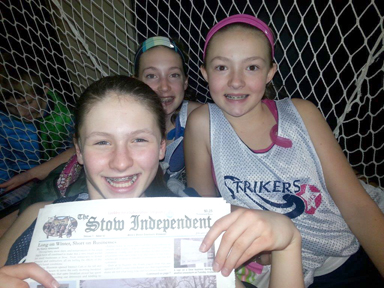 Julia, Hannah, and Natalie are relaxing in between games at a recent indoor field hockey tournament in Hampton, NH.  These girls had lots of fun with their Strikers Stars field hockey teammates!