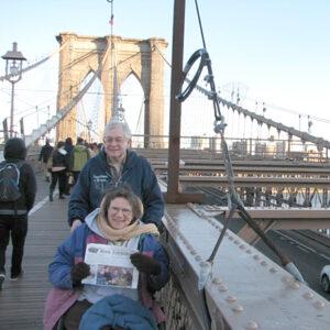Harold and Susan Rude crossing the Brooklyn Bridge April 5, 2014.