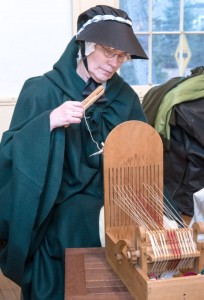 Alice Galinat demonstrates lace making before dinner.                                                                               (Courtesy Dwight Sipler)