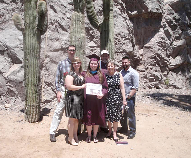 Recently we took our Stow Independent to Tempe Arizona where our daughter Melissa received a Masters of Early Childhood Education from the University of Arizona. In the front row is : Jessica Babb, Melissa Babb Kelly and Gail Babb. Back row: Paul Wasserzieher, Tom Babb and Tom Kelly.