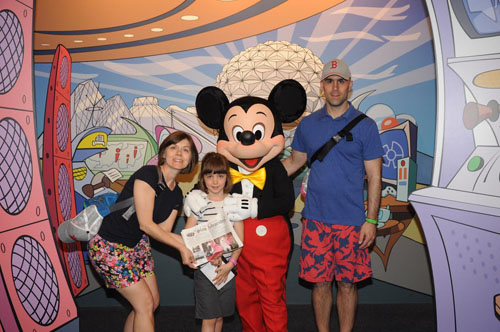 Andrea, Caterina and Anthony Romano meet Mickey Mouse at Walt Disney World in Lake Buena Vista, FL on April 27, 2014