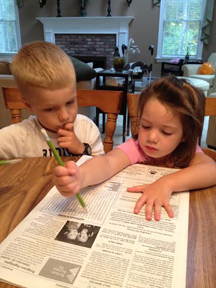 Conor, age 5, and Adriana, age 3, worked together to complete last week's word search, said mom Danielle Pape. They then created a Halloween word search of their own! Thank you Conor and Adriana!       If anyone would like to send in a list of 20 words related to a theme, please send them to: editor@stowindependent.com and you will get your name and photo (if you'd like) here!