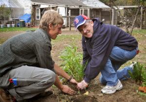 TILL client, John, plants some late greens                                                        Nancy Arsenault