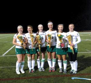 Field Hockey Senior night honors for (l-r):  Meghan Thorogood, Karleigh Elkins, Sarah Gaffney, Olivia Hurd, Emma Caviness, Clara Greszczuk.                         Courtesy Tania Rich
