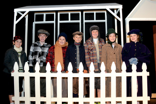 Junior cast members are (l-r): Jonathan Castner, Jimmy Webster, Beckett Storey, Stow's Douglas Meeker, Michael Kozloski, Brooke Lindsay,  Amelia Jones, and Gracie O'Leary (missing from the photo).                    Jonathan Daisy; DaisyDesignPhotography.com