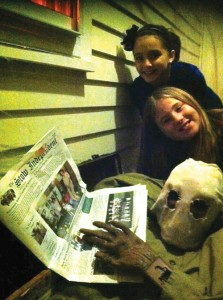 """Annabelle Brown and Phoebe Lynch and """"Joe of Eveleth Farm"""" on Halloween"""