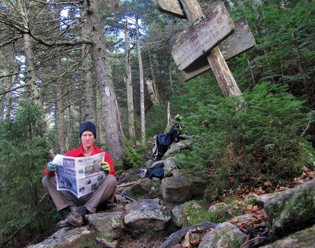 Raymond Merkh took this photo of himself on October 30 while hiking the Carter Range of New Hampshire's White Mountains. He is at the junction of the Carter-Moriah and Carter Dome trails.  There was snow falling at higher elevations, but not down there where he took his lunch break and the photo.
