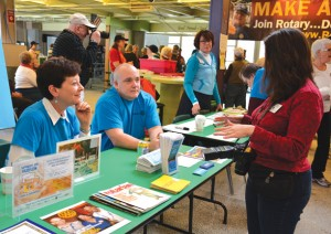 Rotary members, including Stow's Laura Spear, at the check-in.   Courtesy Richard Simon