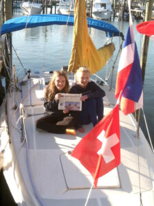 Celia and Sonia Nicholson on the deck of a 27' sailboat, the family's accommodations in Naples, Florida over February vacation.
