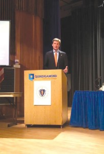 Worcester County Sheriff Lew Evangelidis addresses the audience of over 400 people who recently attended Governor Charlie Baker's 1st Opioid Crisis Listening Session on March 10th in Worcester at Quinsigamond Community College.