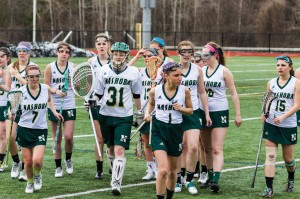 Members of the Nashoba Girls Varsity Lacrosse team on the  field at Tuesday's home game against  Westborough. The team lost 20-4.  Read more on the team's young season below.                                                                   Adrian Flatgard; frequentflyerphotographer@gmail.com