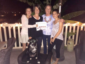 Jody Newman, with her niece, Katie, and her daughters (Jodie and Sarah) and the Wonder Dog, Lucy...on their patio in the hills of Santa Barbara shortly before Easter. It was a glorious time - warm and delicious, reported Jody