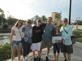 Nancy and Ron Plumhoff of Stow went to Universal Studios in Orlando with the family of their daughter, Wendy (Plumhoff) Mollo.  Pictured are (left to right) Sophie, Nancy, Jack, Steve, Tess and Ron.  Wendy took the picture.