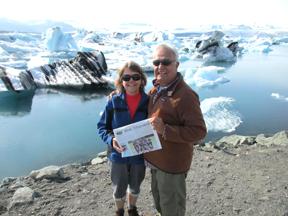 Kathy and Hank Tarbi posing in front of Jokulsarlon Glacier Lagoon in the vicinity of the Vatnajokull Glacier in Iceland.