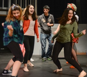 """Dance Students Rehearsing in Nashoba Drama's upcoming production of """"Fame,"""" with performances this weekend. Pictured  left to right are:   Sarah Newton , Sophia Mellis, Noah  Travalent, Julia Wachtel  Courtesy"""