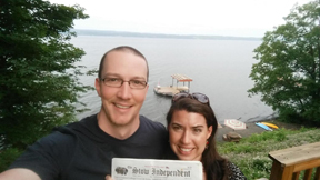 This past July, Brandon & Catherine (Haberkorn) Newman spent their first anniversary at Seneca Lake in the Finger Lakes region of New York.  They had a lovely cabin, and besides swimming, boating & exploring, they had time to catch up on the news in the Stow Independent.