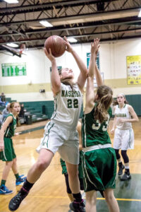 Freshman Brienne Donahue with 9 points in Tuesday night's game.               Adrian Flatgard