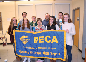 Nashoba's DECA program officers and members (back row l-r): Business Teacher Michael Murphy, Harrrison Ashline, Stavros Andreopoulos, and Matt Allaire. (front row, l-r): Brianna Murphy, MaryKate Magliozzi, Emilia Bernasconi, Tess Anderson, and Cayla Murphy. (Not Pictured: Officers Mike Curtin and Brianha Gilchrest).                               Ann Needle