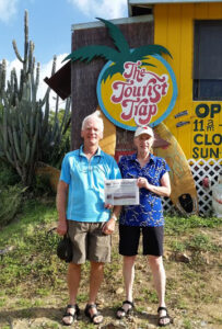 In mid-January, Tom and Marilyn Zavorski enjoyed the warmth and sites of St. John USVI.  At the far east end of island, nestled at the border of the national park is a small, fabulous outdoor café, The Tourist Trap, run by Larry, formerly of Manchester, NH.  Great meals with the choice of local beers are served, as scores of bananquits flock to a circular feeder, while a few cats mingle at one's feet.   Patrons of outdoor eating establishments also share their space with wild chickens, goats, sheep and donkeys!  Nature is most accommodating to St. John visitors.