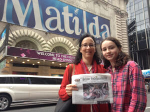 """The Jarger family and their Stow Independent recently visited  New York City to see the show """"Matilda.""""  Fatih Jarger (left) and Sophie Jarger (right) are pictured."""