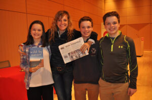 """Madeleine, Casey and Patrick Arsenault with National Geographic Explorer of the Year Sarah Marquis in Cambridge,  after attending her talk about her 3-year walk from Siberia to Australia and her book about the adventure, """"Wild by Nature.""""  We highly recommend the book."""