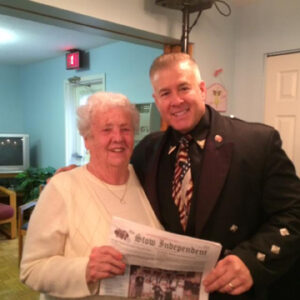 """Singing Trooper, Sgt. Daniel Clark, at Plantation Apartments with Marion Christianson, who's """"all shook up."""""""